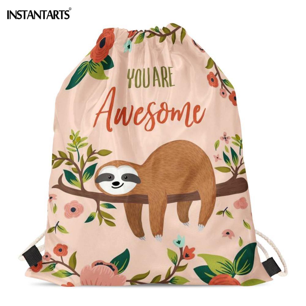 INSTANTARTS Cartoon Funny Sloth Printing Drawstrings Bags Casual Travel Storage Backpacks Cut Design Fitness Walking Sports Bag