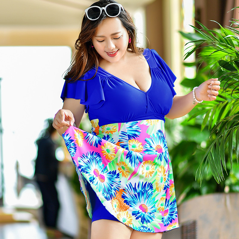 Plus Size One Piece Swimsuit Skirt 2018 Paded Swimwear Women Dress Bathing Suit Floral Print Large Size Swim Suit For Fat Lady skirt style swimwear dress conservative russia women one piece swimsuit ladies bathing suit super large size m 3xl