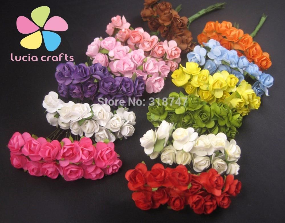 Mulberry Paper Rose Bouquet wire stem wedding flower 027021004