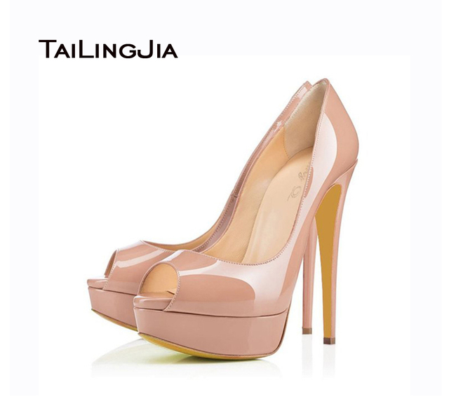 eaf5f39327d US $52.99 |2017 Sexy Women Black Nude Patent Leather Skyhigh Party Shoes  High Heel Evening Peep Toe Stiletto Platform Pumps Plus Size-in Women's  Pumps ...