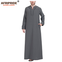 2019 spring Muslim Fashion Jubba Thobe for men AFRIPRIDE tailor made full sleeves ankle length men's casual Jubba Thobe A1814004