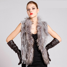 Hot Sale Real Rabbit Fur Vest With Raccoon Dog Fur Collar Knitted Real Fur Women Waistcoat With Tassels V Neck Jackets YC217