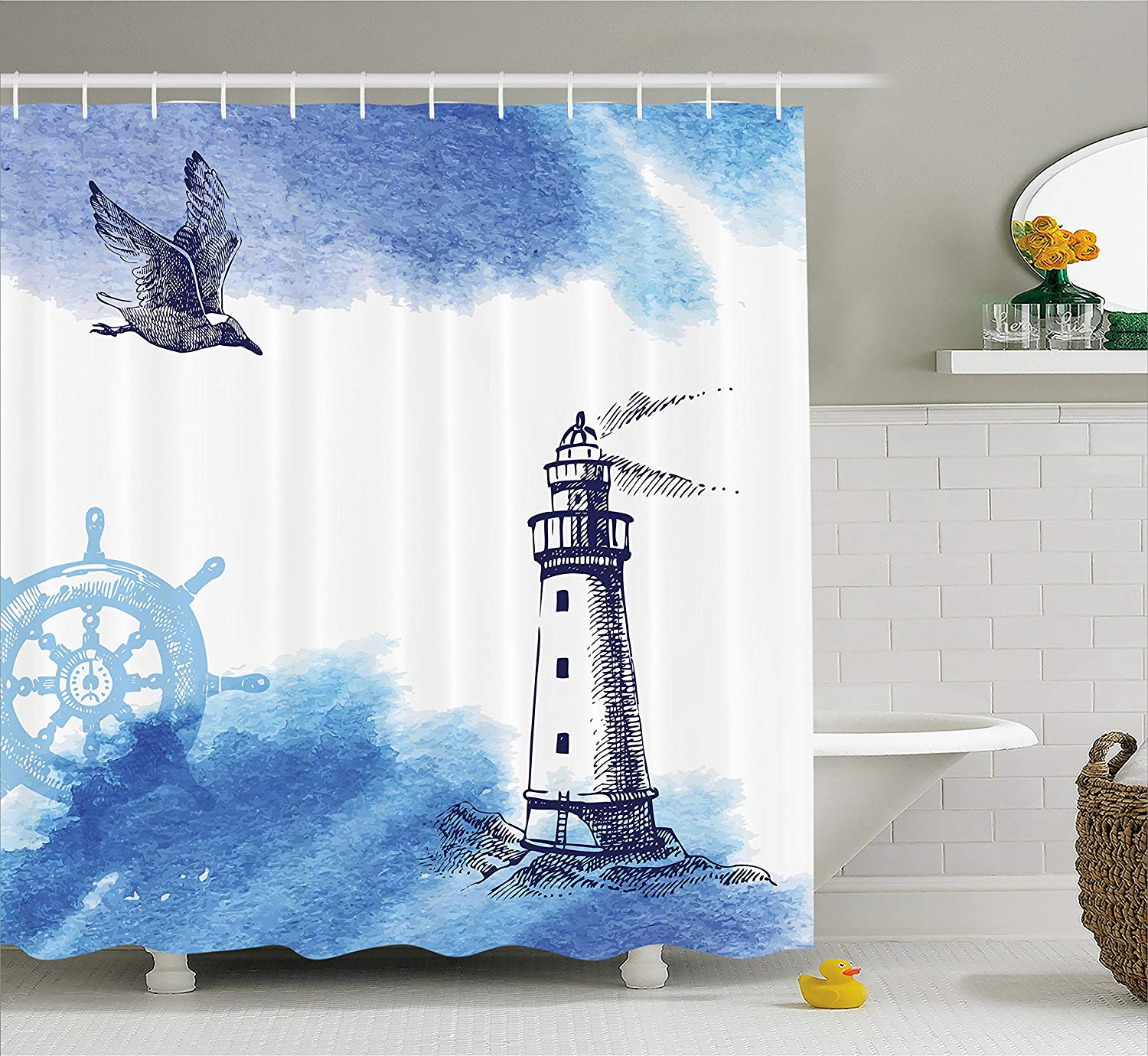 Us 18 28 Farm House Decor Shower Curtain Nostalgic Watercolors With Gull Ancient Anchor Lighthouse Nautical Theme Fabric Bathroom Decor In Shower