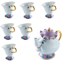 Beauty And The Beast Caneca Mrs Potts Chip Xícara de Chá conjunto De Chá Em Cerâmica [1 pot + 6 xícaras] cup ceramic cup tea setpot set -