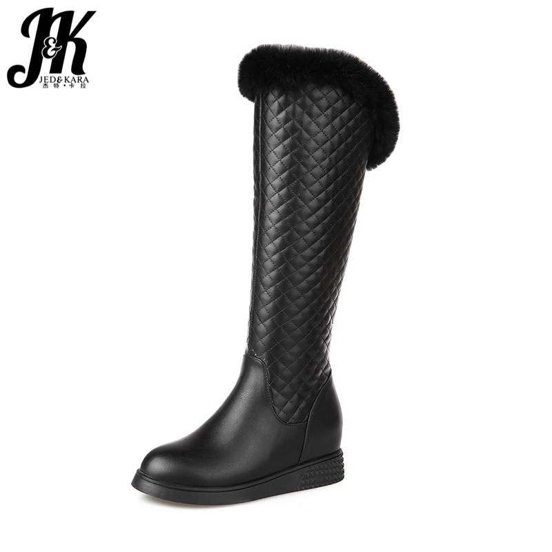 J&K New Arrive Keep Warm Thick Fur Boots for Women Knee High Boots Winter Shoes Woman Zipper Height Increasing Plush Footwear 2016 new arrive keep warm high heel snow boots fashion thick fur platform knee high winter boots for women shoes