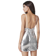 Syoovaa V Neck Sequin Backless Sexy Dress Women Short Spaghetti Strap Dress Mini Party Night Club Silver Dresses Womens Robe