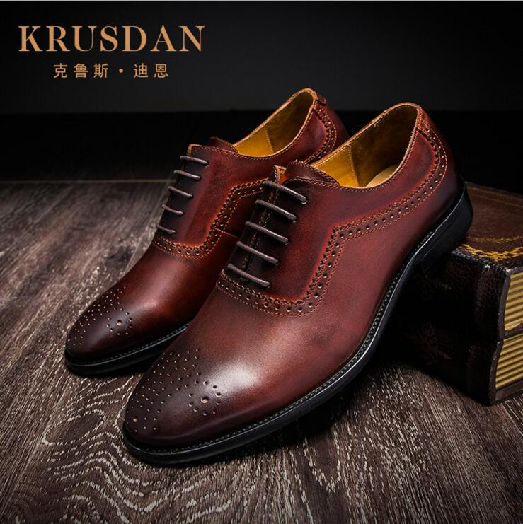 2017 New Arrival Brand Top Quality Men Business Casual Genuine Leather Shoes Men Bullock Classic Brown Dress Wedding Shoes