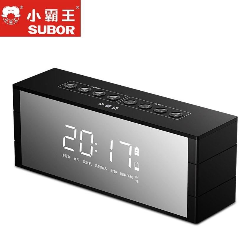 Subor D52 haut-parleur Portable Bluetooth haut-parleur sans fil stéréo musique Soundbox avec LED affichage de l'heure horloge alarme haut-parleur