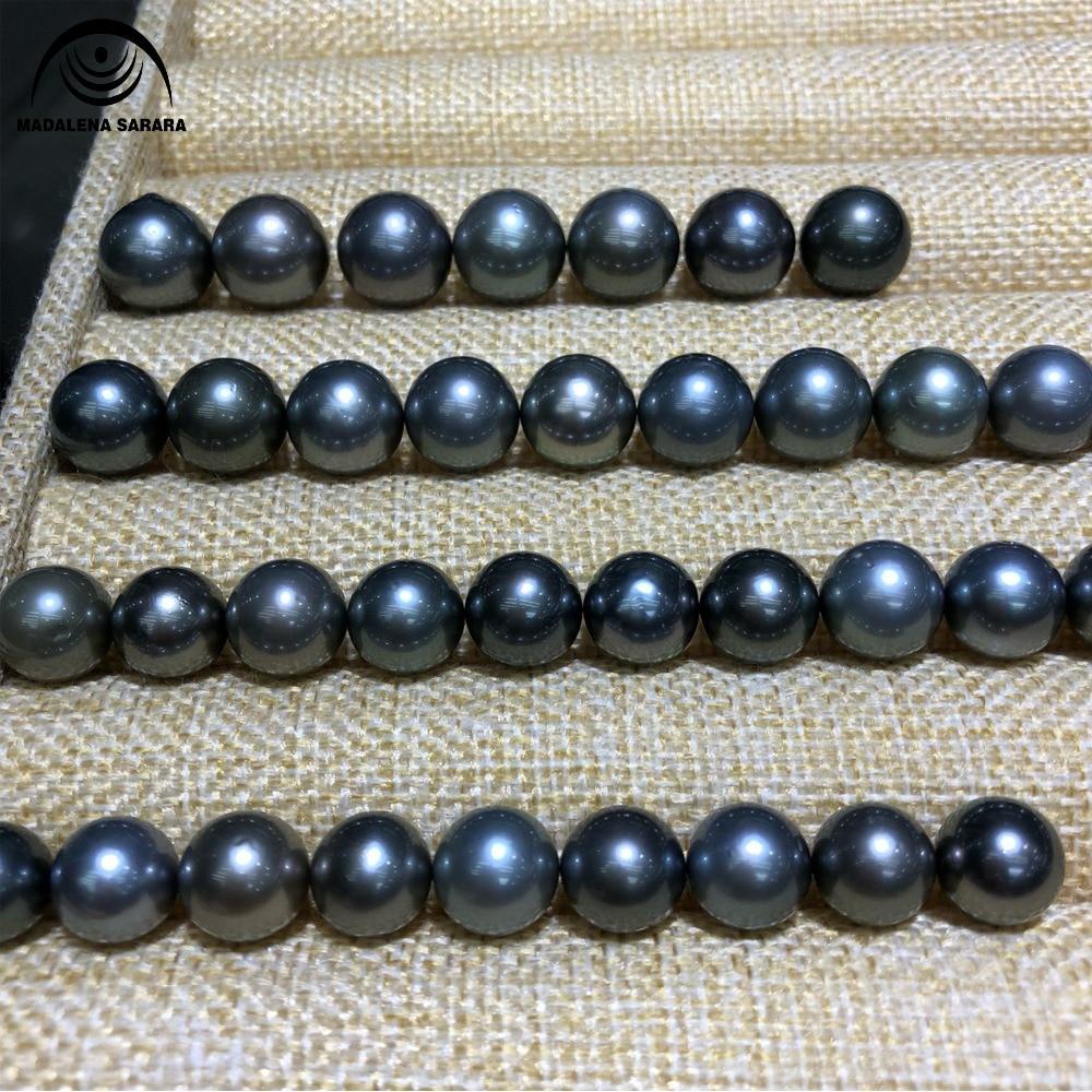 MADALENA SARARA AAA Meerwasser Perle Natürliche Schwarz Perle Exquisite Glänzend Lose Perle-in Perlen aus Schmuck und Accessoires bei  Gruppe 2