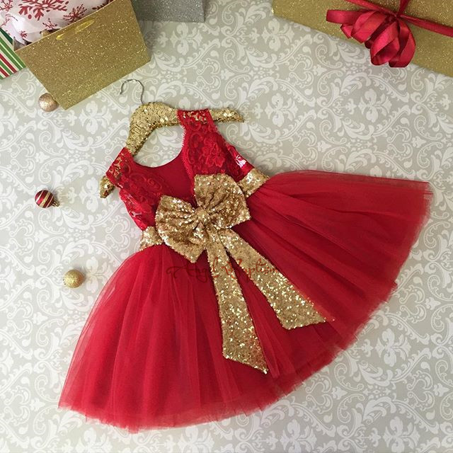 2016 Cute red knee length lace beautiful flower girl dresses kids baby first birthday frocks toddler evening prom ball gowns