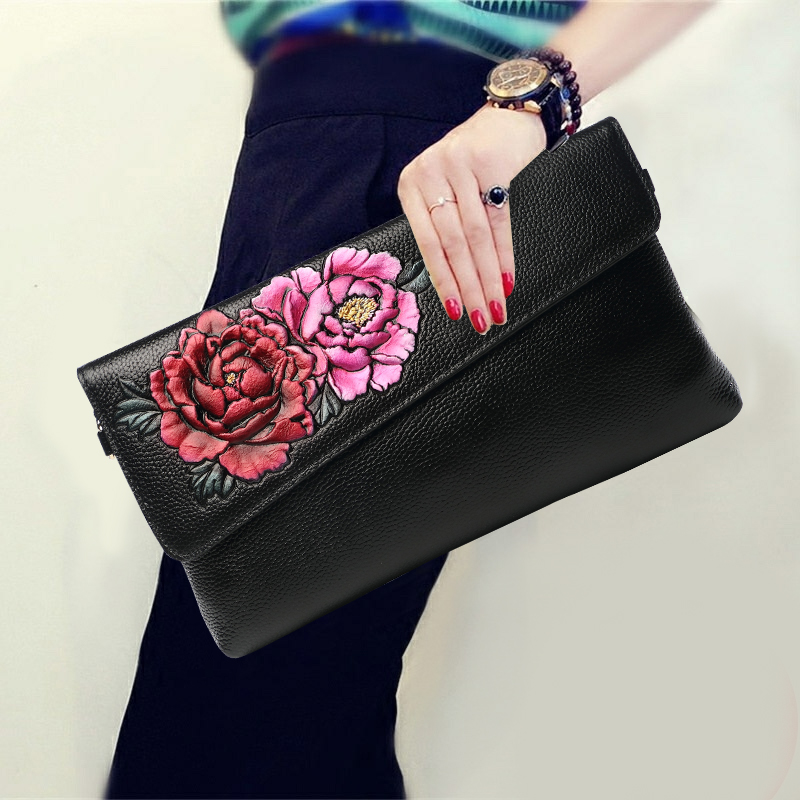 Soft Ladies Hand Clutch Genuine Leather Long Wallet Purse Women Vintage Peony Chain Shoulder Evening Bag Wristlets Crossbody bag vintage serpentine genuine leather woman clutches evening bag crossbody chain shoulder bag handbag clutch wallet lady long purse