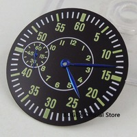 Bliger 38.9MM Green numbers Black Watch Dial + Blue Watch Hands Fit ETA 6497 ST 3600 Movement Wristwatch Faces dial136