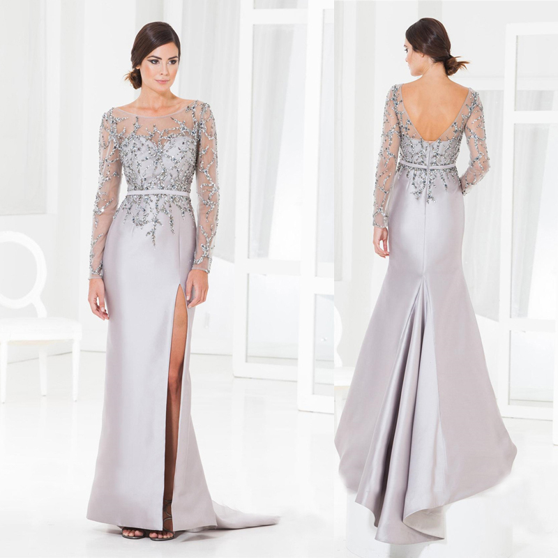 Silver Long Dresses with Sleeves