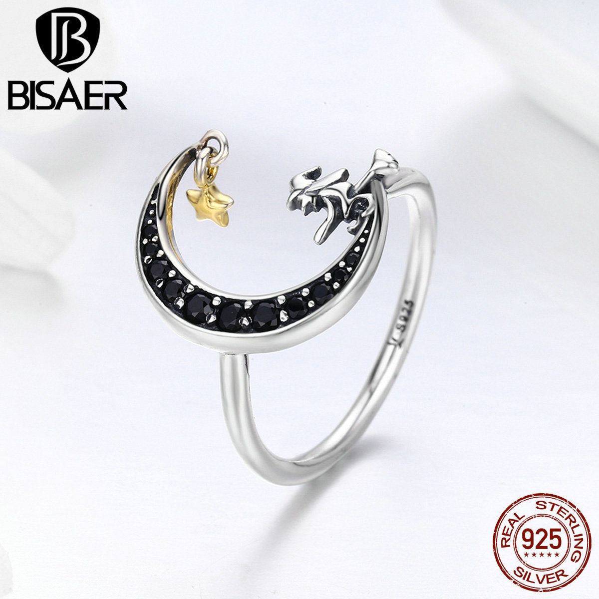 Real 100% 925 Sterling Silver Magic Witch Black Moon Star Dangle Finger Ring Women Girl Sterling Silver Jewelry Wedding Gift chain