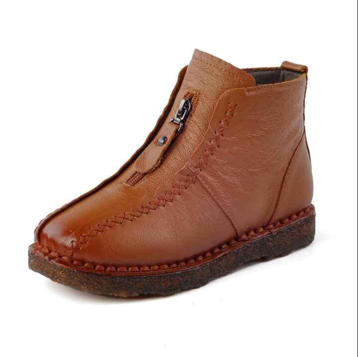 2019 sıcak satış Kış Hakiki Deri yarım çizmeler Kadife El Yapımı Bayan yumuşak düz ayakkabı rahat Rahat Moccasins kadın ayakkabısı