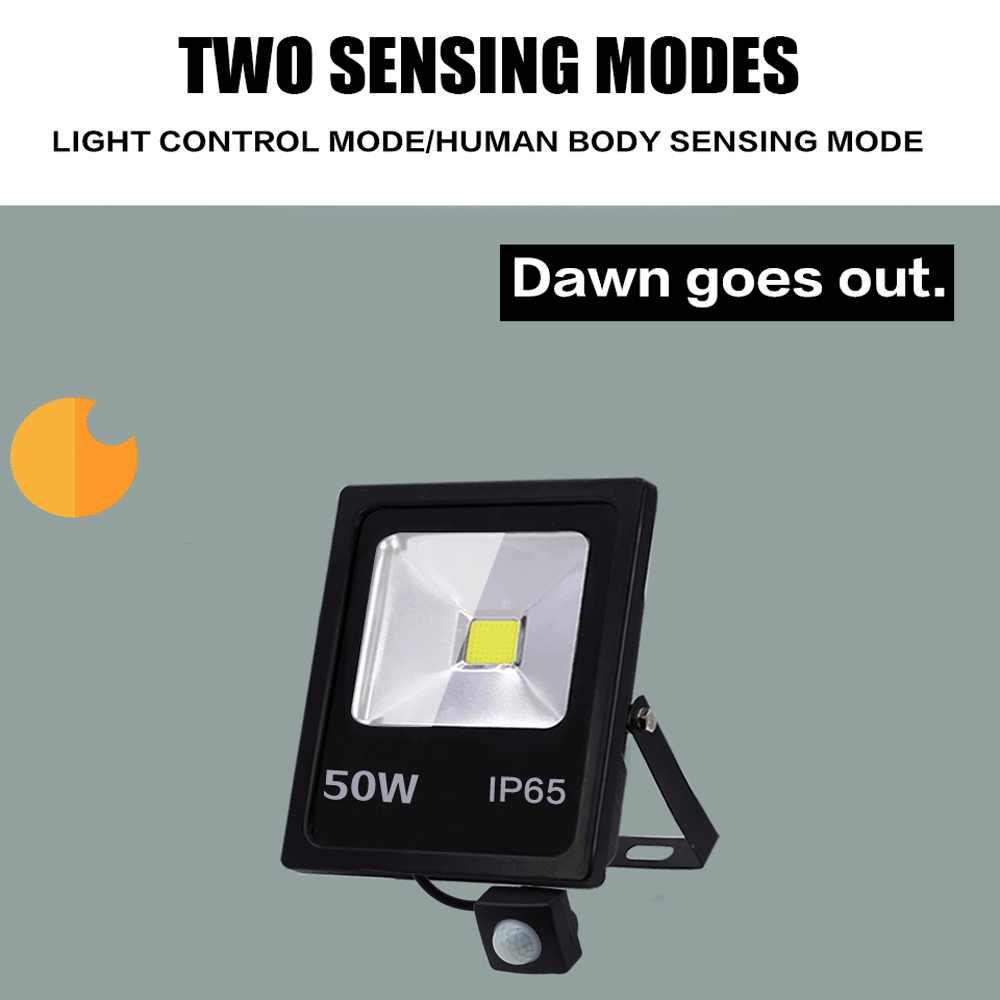 Датчик движения светодиодный прожектор 220 В 50 Вт 30 Вт 10 Вт Светодиодный прожектор для улицы прожектор настенный светильник отражатель IP65 водонепроницаемое освещение