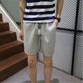 Cortocircuitos de la Playa de La Personalidad de Algodón Tira Corta 2017 Verano Fina de Alta Calidad Comodidad Transpirable Casual Hombres Pantalones De Lino A3026