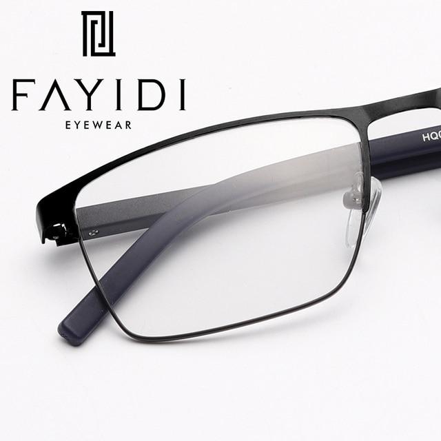 04f306e66bb Metal Trendy Spectacle Frame Brand Designer Optical Transparent Myopia  Square Glasses Frame For Men  HQ05-24