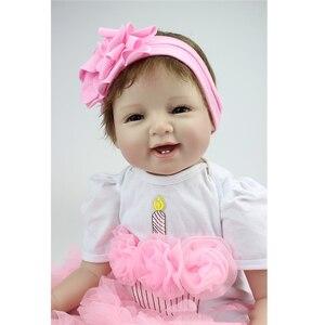 Image 2 - 55cm Reborn bebek bebekler vinil silikon gerçekçi canlı yumuşak bebekler Toddler yenidoğan oyuncak çocuklar erkek kız doğum günü noel hediyesi