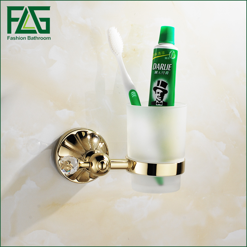 FLG Wall mounted Golden Bathroom Accessories Single Cup Tumbler Holders,Toothbrush Cup Holders flg bathroom accessories wall mounted tumbler holder cup