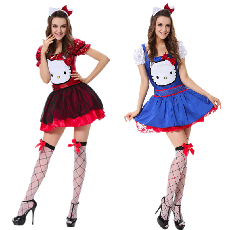 2017 fashion adult red blue fancy dress sexy women cosplay maid costume halloween hello kitty costume - Halloween Hello Kitty Costume