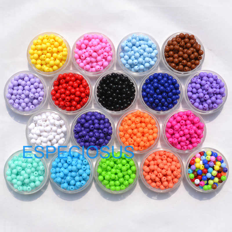 200pcs DIY Fashion Jewelry Accessory 6MM Candy Acrylic Beads Round Shape 18 Colors Bracelet Department  Spacer Necklace Making