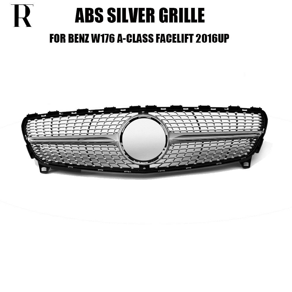 W176 Lifting ABS Noir Diamant Style Pare-chocs Avant Grill Grille pour Benz W176 A200 A260 A45 AMG 2016 2017 2018 (aucune Étoile Logo)