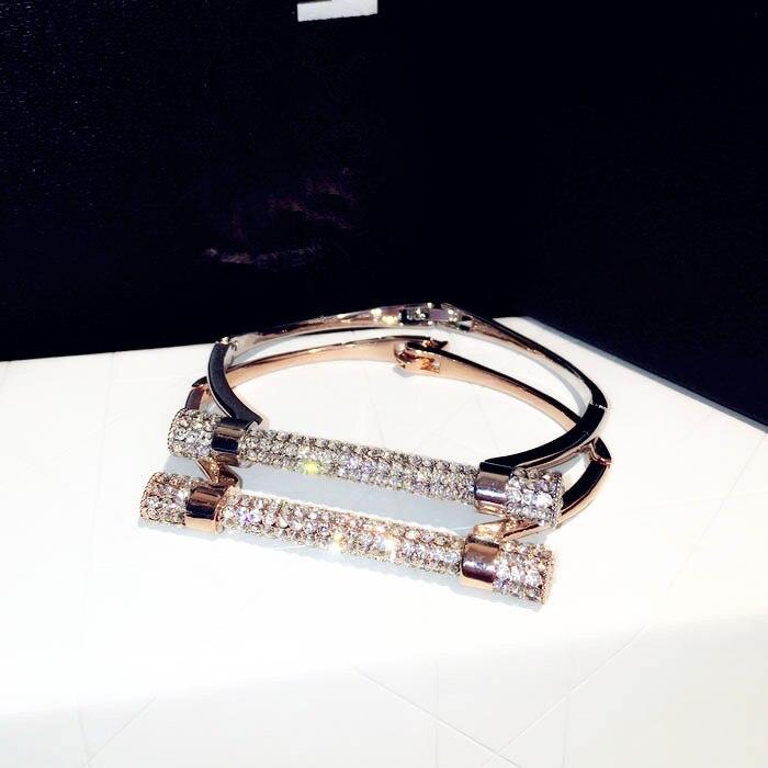 a71ca0947 New crystal bolt bangle bracelet womens pulseira feminina, fashion gold  color bangles bileklik cristal jewellery joias sale