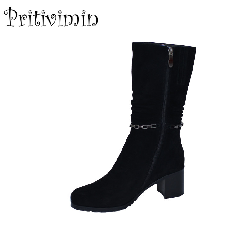2018 Lady suede leather bottes femmes winter women botas mujer handmade shoes girls heel warm fur knee high boots PritiviminFN41