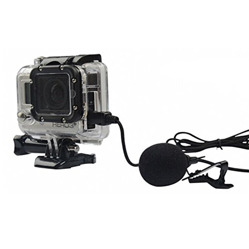 besegad mini usb directional mic microphone with collar clip for gopro hero 3 3 4 go pro hero3. Black Bedroom Furniture Sets. Home Design Ideas