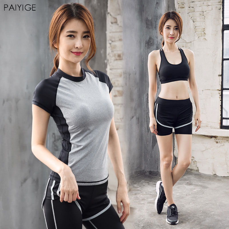 8268b59d1f Reallion 5pcs set women yoga sets running sports bra shorts shirt ...