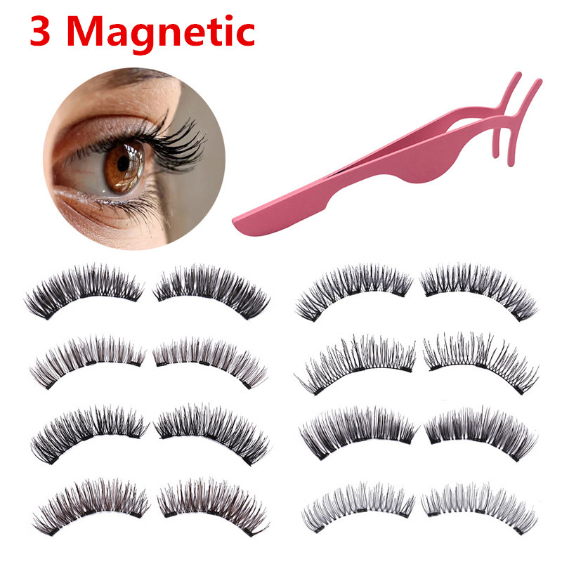 Lashes Magnetic 3 Magnet Flase Eyelashes 1 Pair Wearing Without Glue 3D Rich Style Thick Eyelashes Makeup With Box Gift