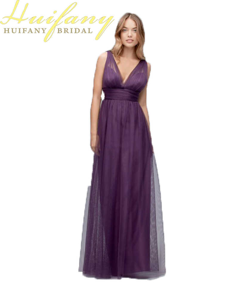 Deep v neck purple bridesmaid dresses a line sleeveless long floor deep v neck purple bridesmaid dresses a line sleeveless long floor length custom made tulle maid of honor dresses in bridesmaid dresses from weddings ombrellifo Image collections