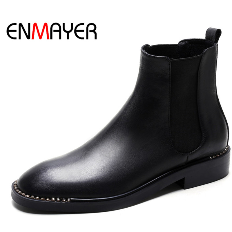 ФОТО ENMAYER Spring/Autumn Women Boots Shoes Round Toe Motorcycle Boots Crystal Square Heel Boots Slip-on Low Heel Leather Shoes