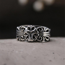 Fashion 925 Sterling Silver Jewelry Cuff Rings Carved Flower Hollow 11mm Wide Round Ring Women Opening Style Finger Accessories