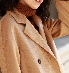 Image 5 - IRINAW902 mới xuất hiện 2018 handmade đôi phải đối mặt với Len Cổ Điển đôi rời dài Cashmere Áo Khoác Len Nữ