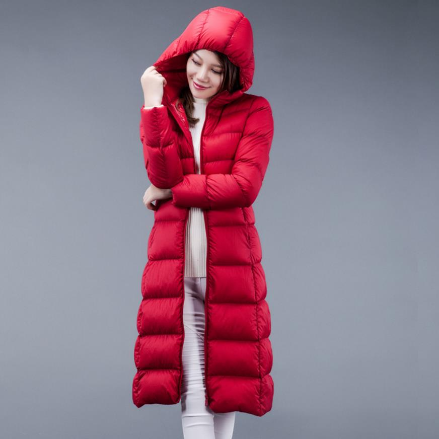 2018 New Winter Down Coat Women Thin Slim Hooded White Duck Down Long Down Parka Warm Coats plus size 4XL