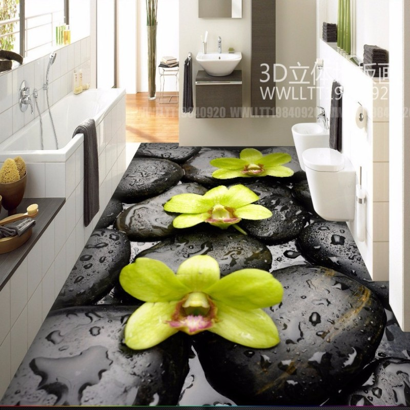 Free Shipping Stone water drop Orchid 3D floor wear non-slip waterproof bathroom restaurant kitchen flooring mural free shipping waterfall hawthorn carp 3d outdoor flooring non slip shopping mall living room bathroom lobby flooring mural