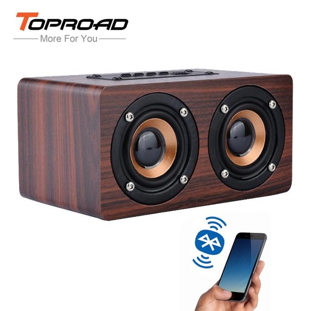 TOPROAD Holz Drahtlose Bluetooth Lautsprecher Tragbare HiFi Schock Bass Altavoz TF caixa de som Soundbar für iPhone Sumsung Xiaomi
