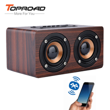 TOPROAD Wooden Wireless Bluetooth Speaker Portable HiFi Shock Bass Altavoz TF caixa de som Soundbar for iPhone Sumsung Xiaomi cheap AUX Bluetooth Other Two-Way None 2 (2 0) Wireless HiFi Bluetooth Speaker 1500mAh 90Hz-20KHz 5W*2 10 meters Dual speaker bass
