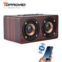 TOPROAD-Altavoz inalámbrico de madera con Bluetooth, barra de sonido portátil HiFi con bajos de choque, TF, caixa de som, para iPhone Samsung y Xiaomi