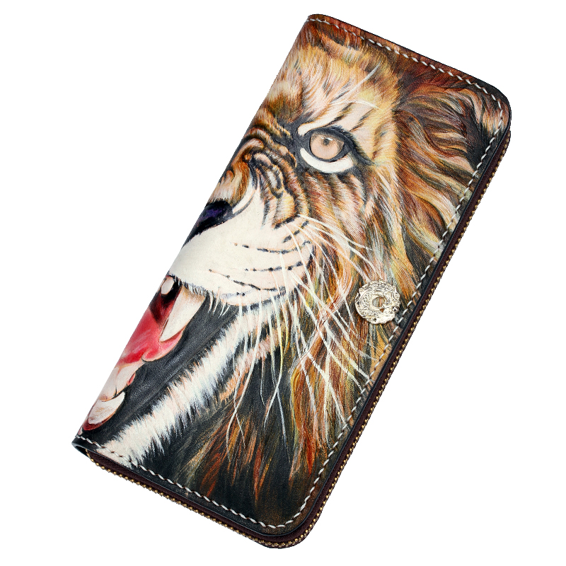 Handmade Genuine Leather Wallets Carving Lion Bag Purses Women Men Long Clutch Vegetable Tanned Leather Wallet Top Grade Gift