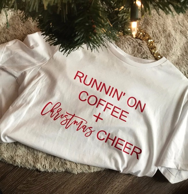 SALE Running on Coffee And Christmas Cheer t-shirt Holiday Graphic Tee  funny slogan cute harajuku aesthetic shirt goth tee tops 314e8d9d2135