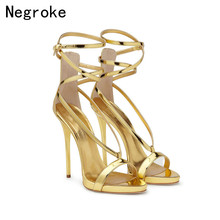 цена Sexy Summer High-heeled Sandals Women Shoes 2019 Fashion High Heels 12CM Party Dress Shoes Woman Stiletto Sandalias Mujer 35-45 в интернет-магазинах