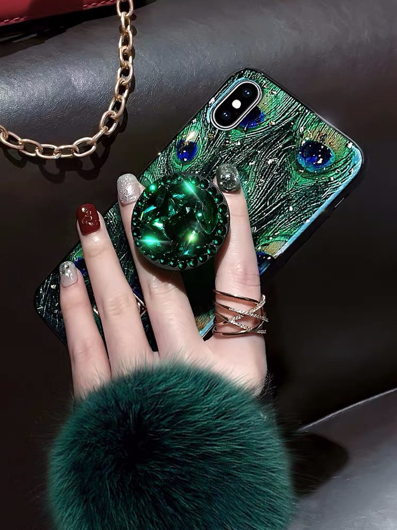 Image 3 - Hair ball rhinestone bracket For iPhone 6 6s 7 8 Plus  Cases Soft For iPhone X S MAX Back Cover Coque-in Fitted Cases from Cellphones & Telecommunications