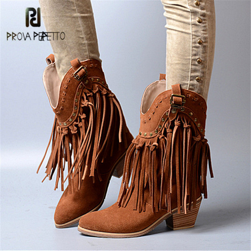 Prova Perfetto Full Tassels Women Chunky High Heel Boots Suede Fringed Slip On Women Platform Pumps Rivets Autumn Winter Botas zinc alloy submachine gun keychain holder creative gift