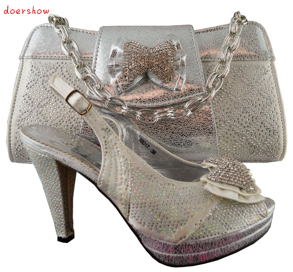 doershow Silver Fast Shipping Elegant Italian Shoes and Bag Set High Class Wedding Shoes And Hand Bag With Stone !HJZ1-51