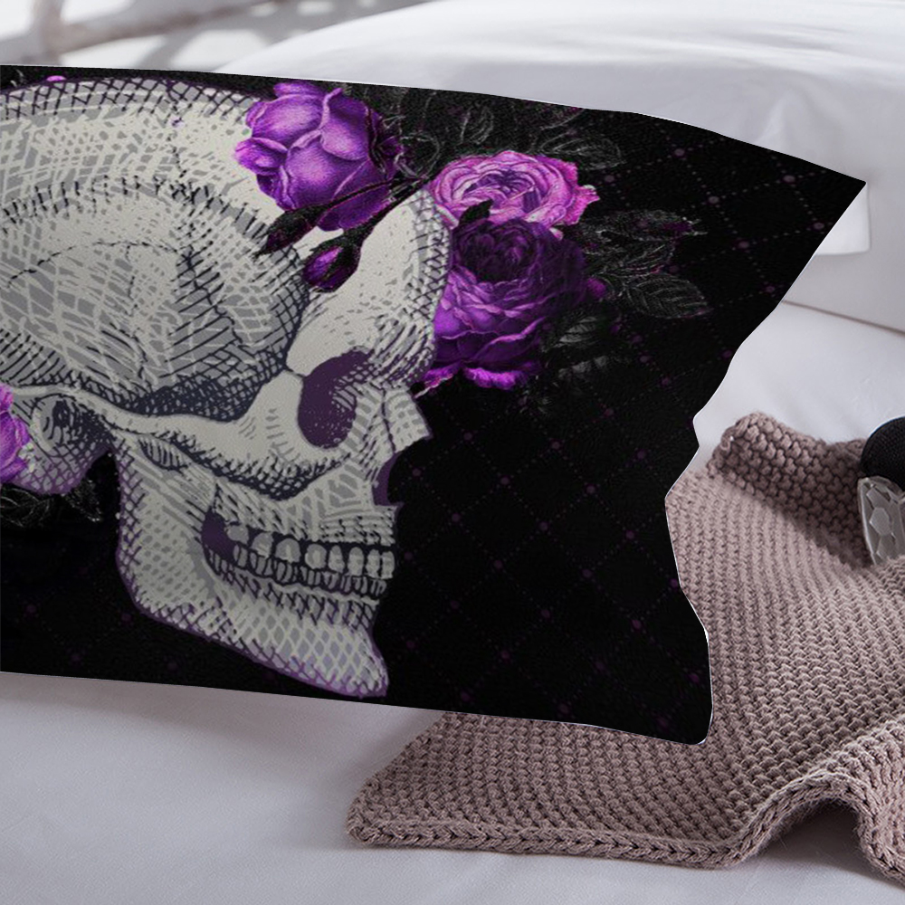 Wongsbedding Purple rose Skull Bedding Set 3D Duvet Cover Bedclothes Twin queen king size 3pcs dropship in Bedding Sets from Home Garden