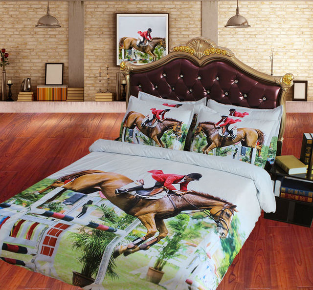 3d Reiten Bettwäsche Sets Kühlen Reit Bettbezug Set Bettlaken