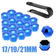 20pcs/set 17/19/21mm Universal Wheel Nut Bolt Cover Cap Exterior Decoration Protecting + Removal Tool RED/BLUE